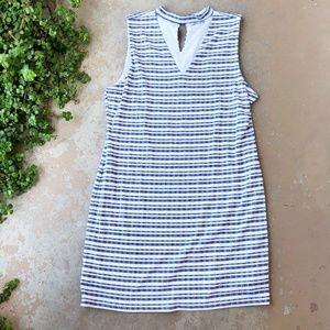 1 State Cutout White Gray Stripe Mini Dress